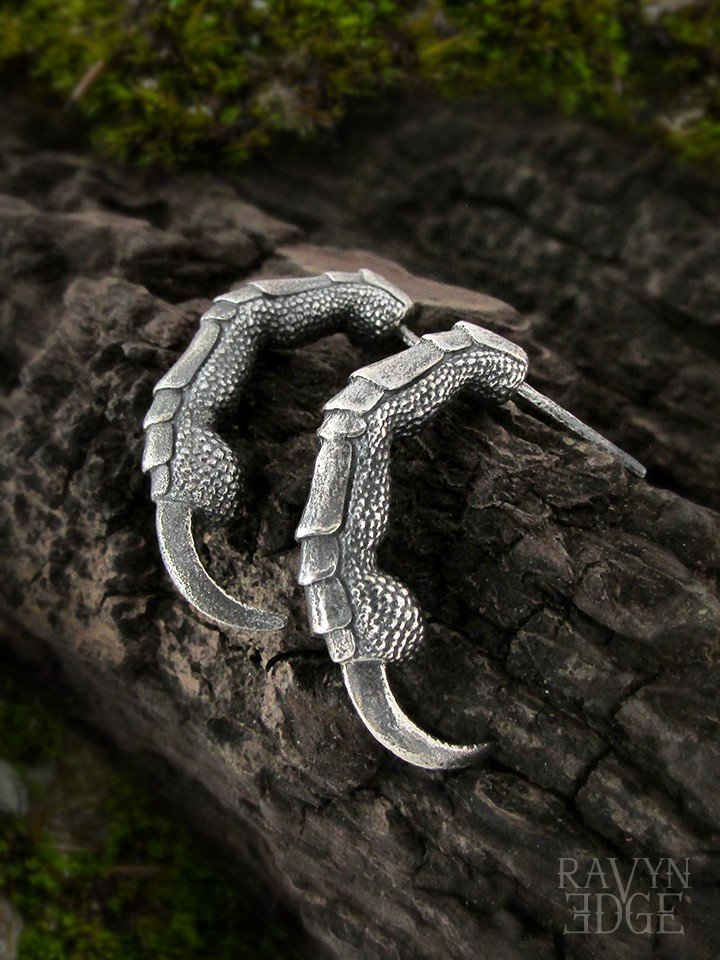 Raven claw hoop earrings in sterling silver