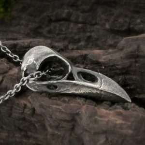 Large Raven Skull Necklace
