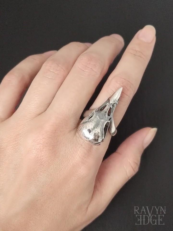 Raven skull ring in sterling silver