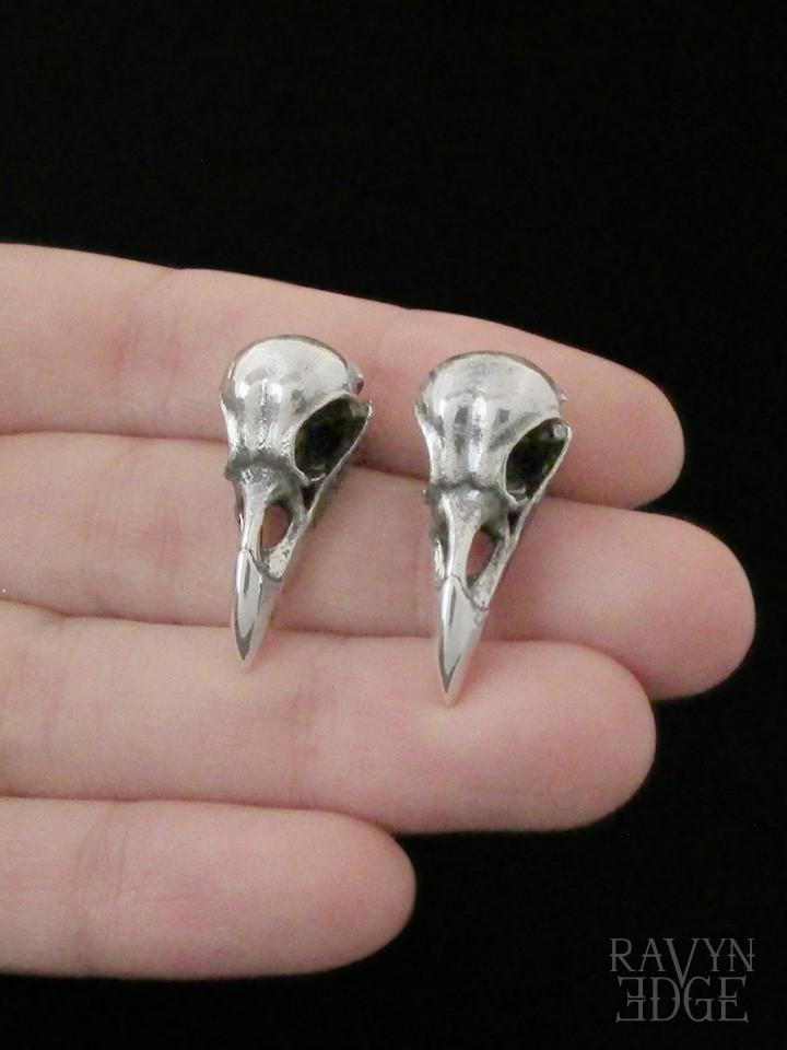 Raven skull stud earrings in sterling silver