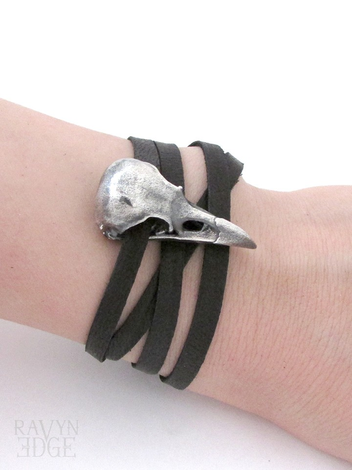 Medium silver raven skull bracelet with black leather wrap