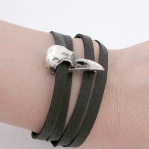 Small Raven Skull Wrap Bracelet