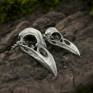 Raven Skull Couples Matching Necklace Set