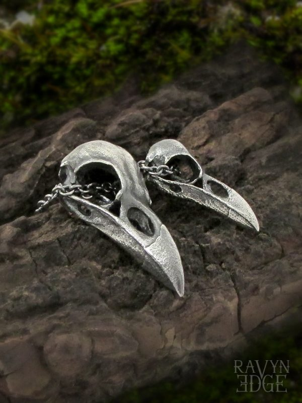 Small and medium raven skull matching necklaces for couples