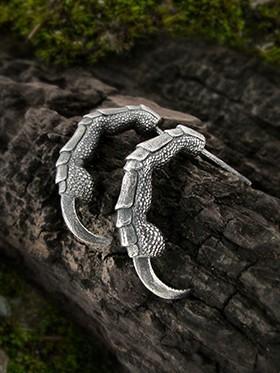 Raven claw half hoop earrings in sterling silver