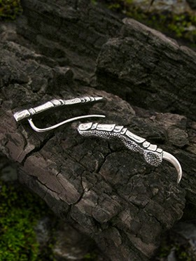Sterling silver dragon claw ear climber earrings
