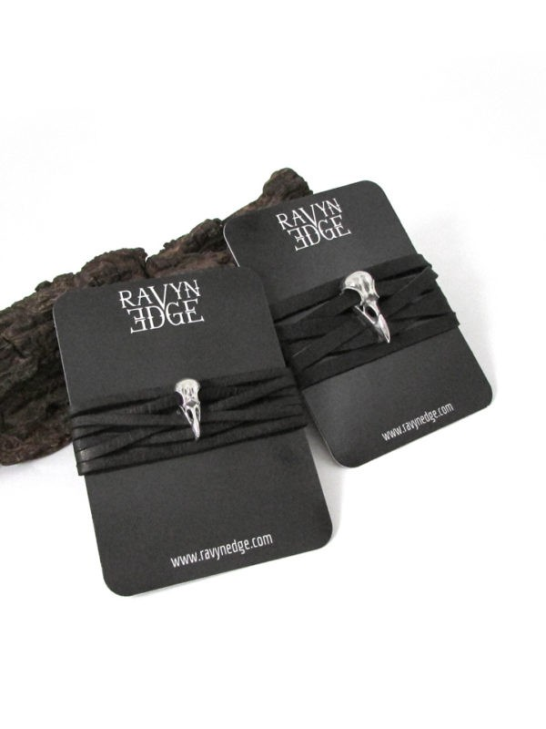 Set of raven skull matching bracelets for couples