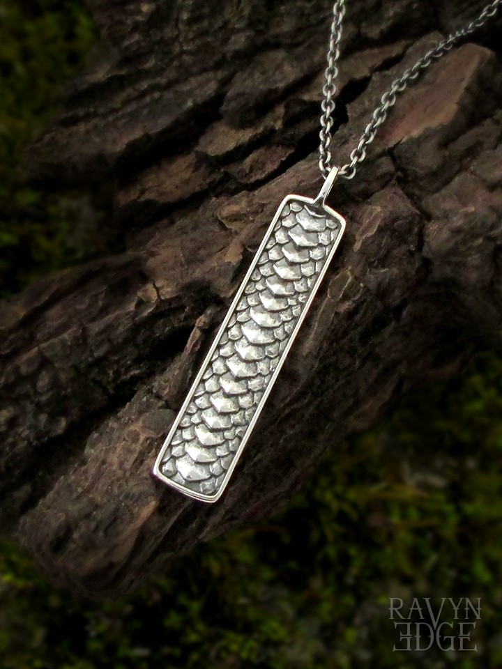 Dragon scale necklace sterling silver bar necklace
