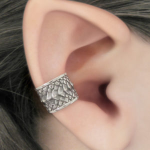 Silver dragon scale ear cuff no piercing needed in concha