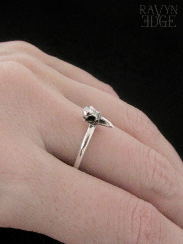 Sterling silver stackable raven bird skull ring