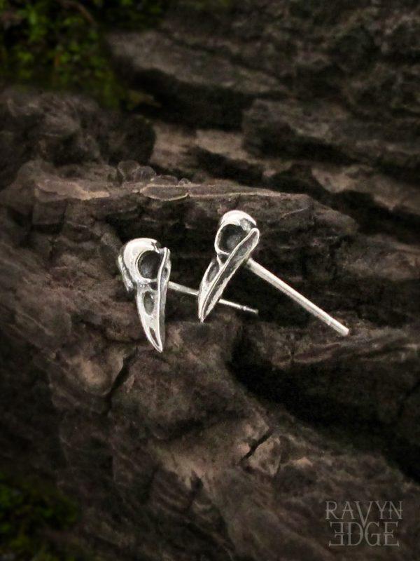 Tiny bird skull earrings studs in sterling silver