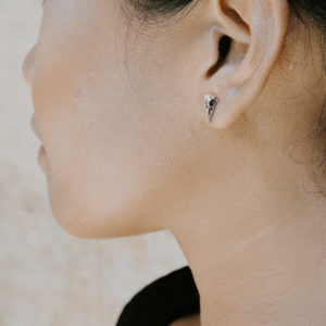 Tiny Bird Skull Earrings