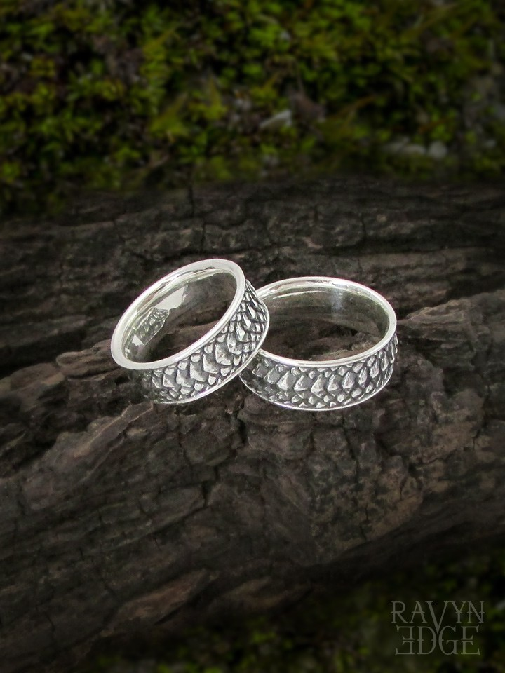 Dragon scale matching couple rings set in sterling silver