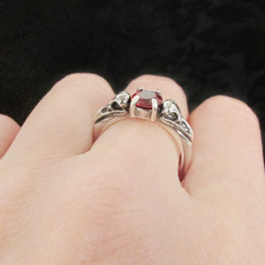 Raven Skull Promise Ring with Garnet – Size 7