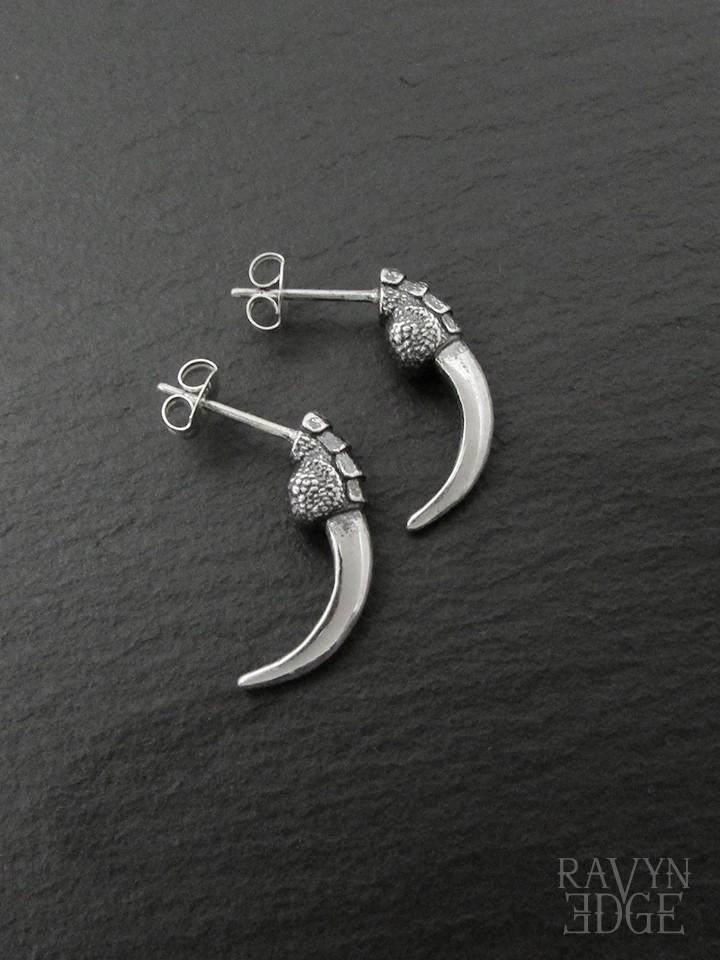Raven talon earrings studs in sterling silver