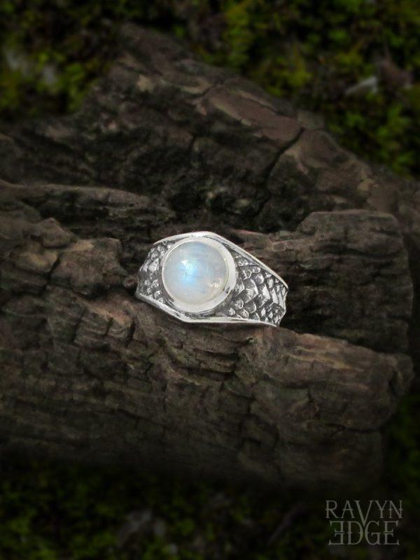 Draco dragon scales rainbow moonstone ring