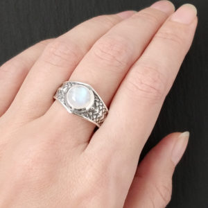 Draco Ring with Rainbow Moonstone – Size 7