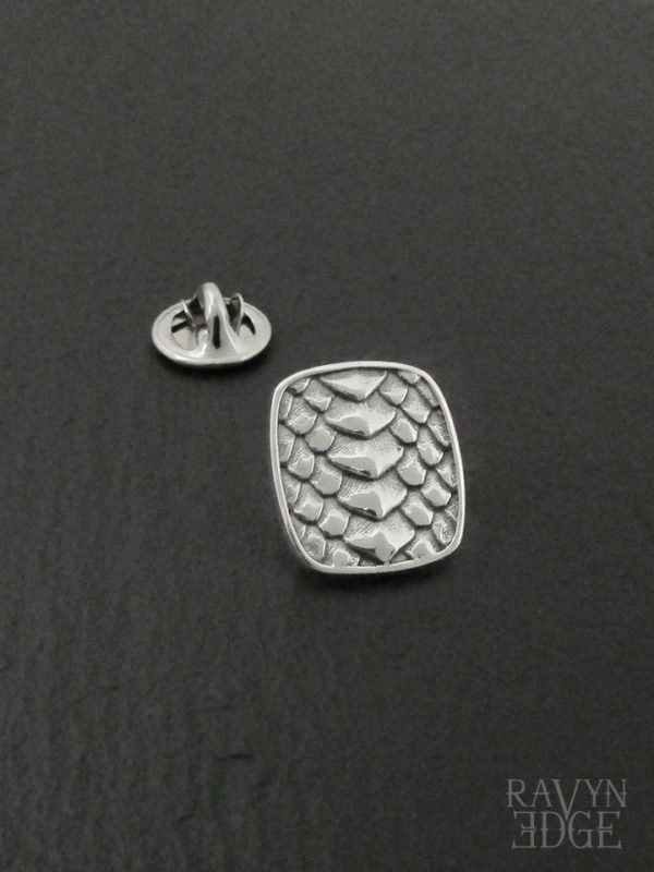 Sterling silver lapel pin with dragon scale texture