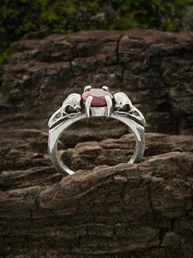 raven skull garnet promise ring
